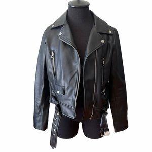 Zara Black Faux Leather Biker Jacket
